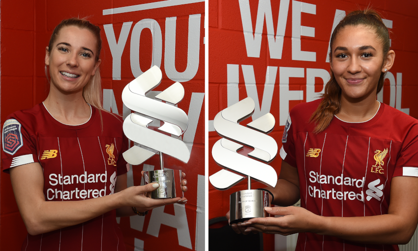 Kirsty Linnett and Jade Bailey collect LFC Women Player of the Month awards