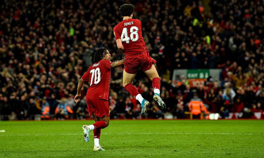 Curtis Jones celebrates his goal against Everton