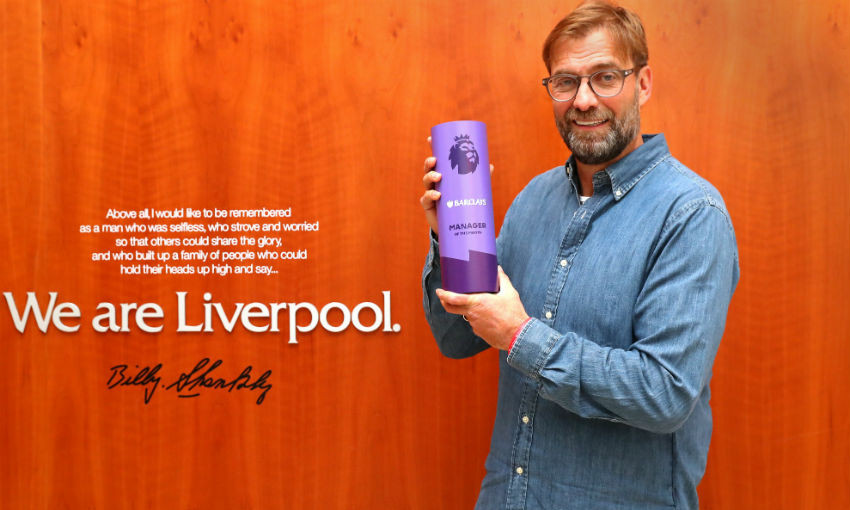 Jürgen Klopp with Premier League Manager of the Month award