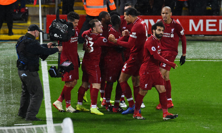 Liverpool celebrate goal v Manchester United at Anfield