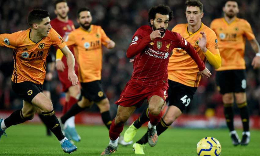 Mohamed Salah in action for Liverpool FC v Wolves