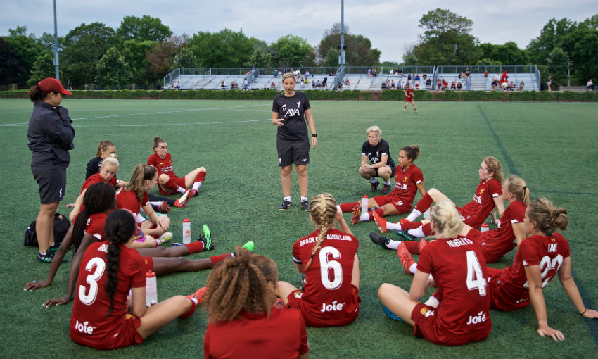 Liverpool's manager Vicky Jepson speaks to her players at half-time during a friendly match between Liverpool FC Women and Metropolitan Conference All Stars at Jordan Field at the Harvard Stadium on day seven of the club's pre-season tour of America. Liverpool won 6-0.