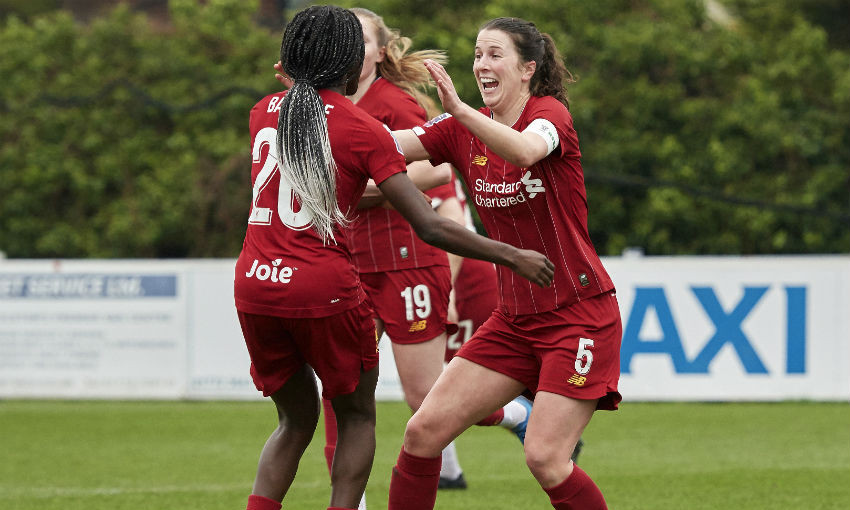 Niamh Fahey (5) of Liverpool celebrates scoring Liverpool's second goal at The Sir Tom Finney Stadium during the Womens FA Cup game on January 26, 2020 in Bamberbridge, England.