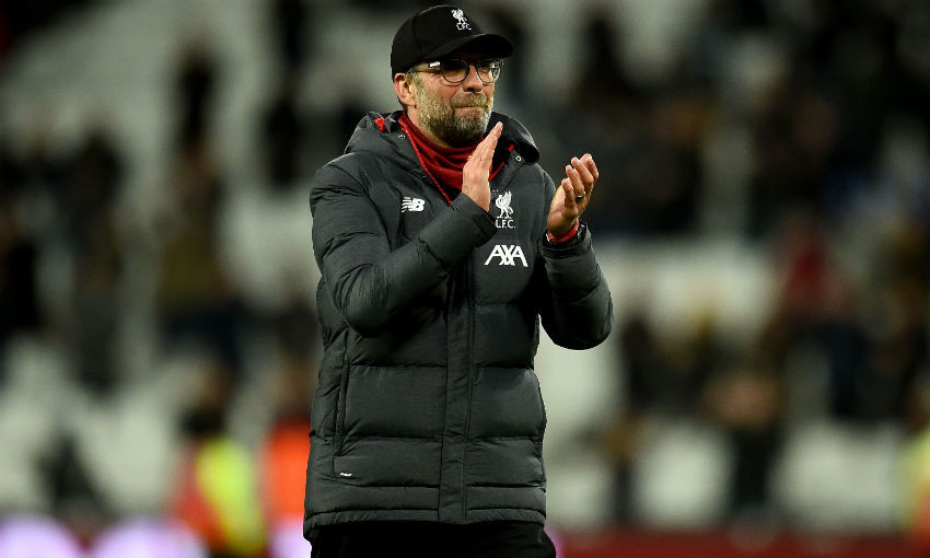 Jurgen Klopp manager of Liverpool showing his appreciation to the fans at the end of the Premier League match between West Ham United and Liverpool FC at London Stadium on January 29, 2020 in London, United Kingdom.