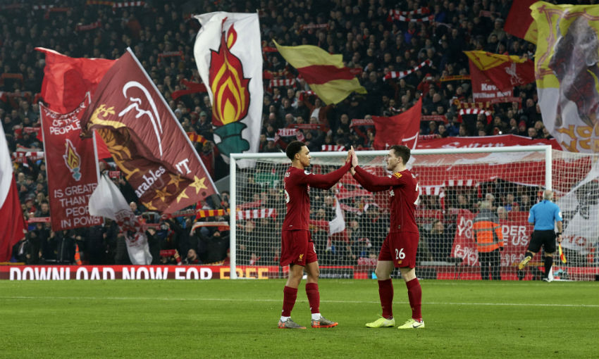 Trent Alexander-Arnold and Andy Robertson at the start of the Premier League match between Liverpool FC and Manchester United at Anfield on January 19, 2020 in Liverpool, United Kingdom.