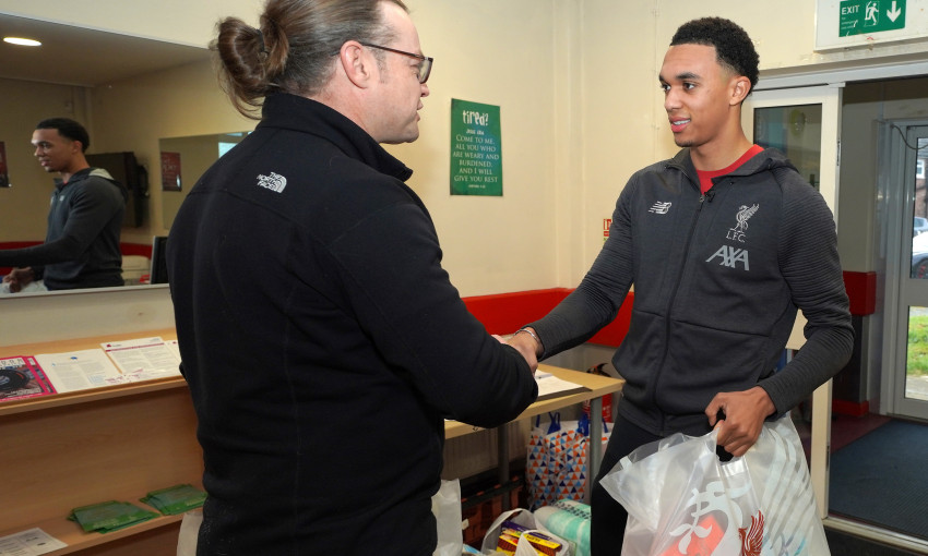Trent Alexander-Arnold delivers donation to foodbank