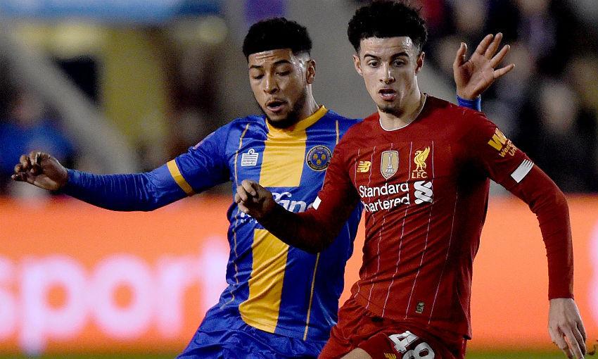 Curtis Jones during Shrewsbury Town v Liverpool FC