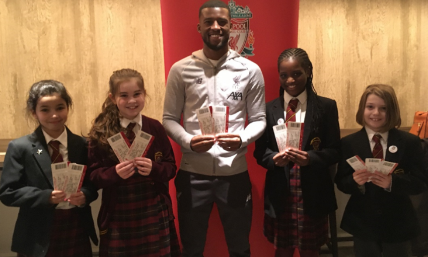 Gini Wijnaldum at Red Neighbours' match ticket giveaway