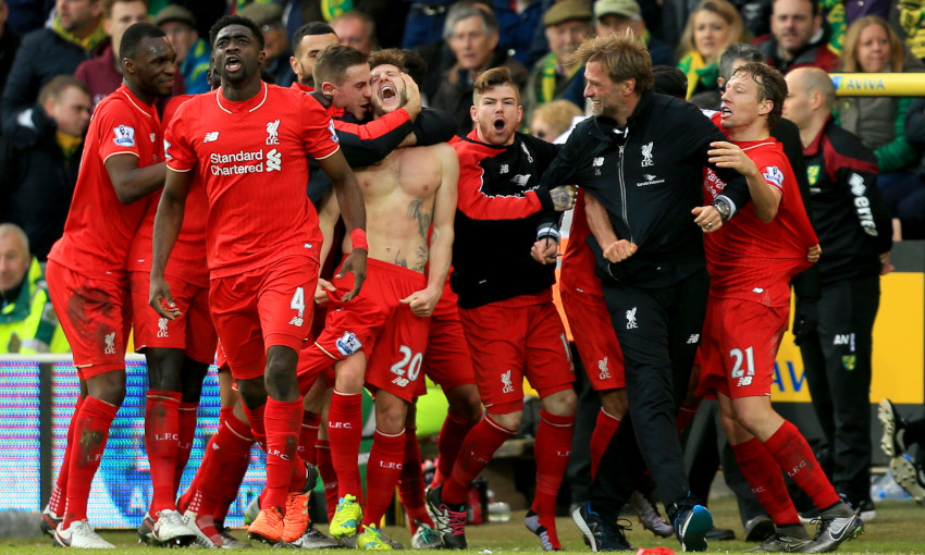 Liverpool celebrate a 5-4 win over Norwich City in January 2016