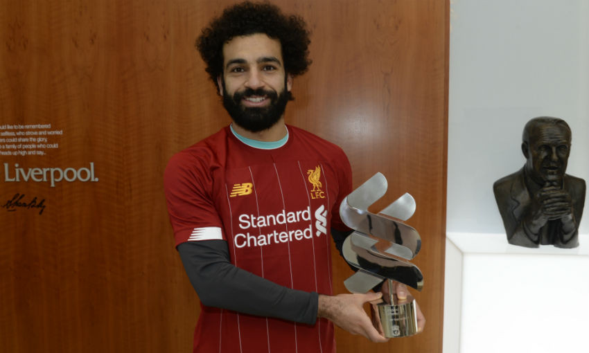 Mohamed Salah with Liverpool FC's January Standard Chartered Player of the Month award