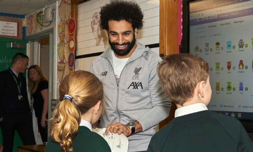 Mohamed Salah visits local schoolchildren