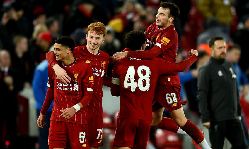 Liverpool's celebrations against Shrewsbury Town in the FA Cup