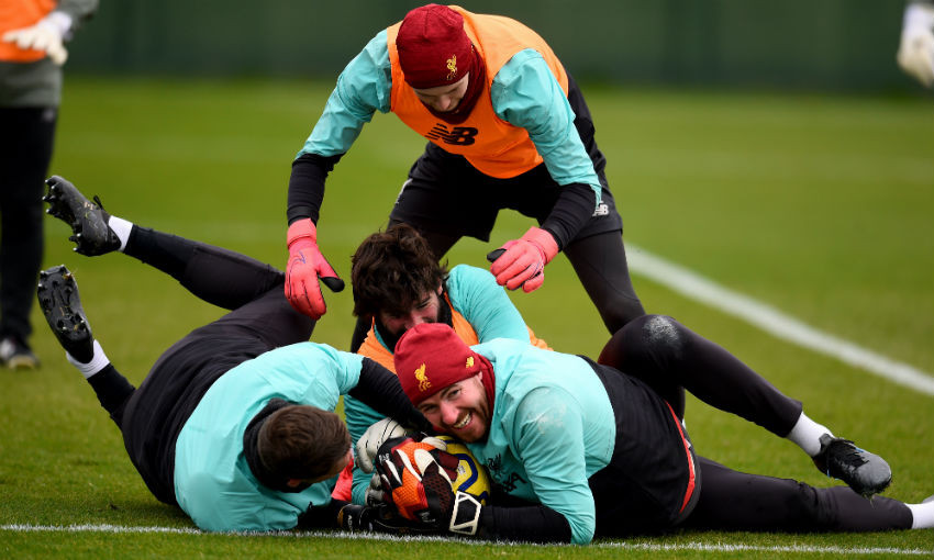 Liverpool FC's goalkeepers in training at Melwood