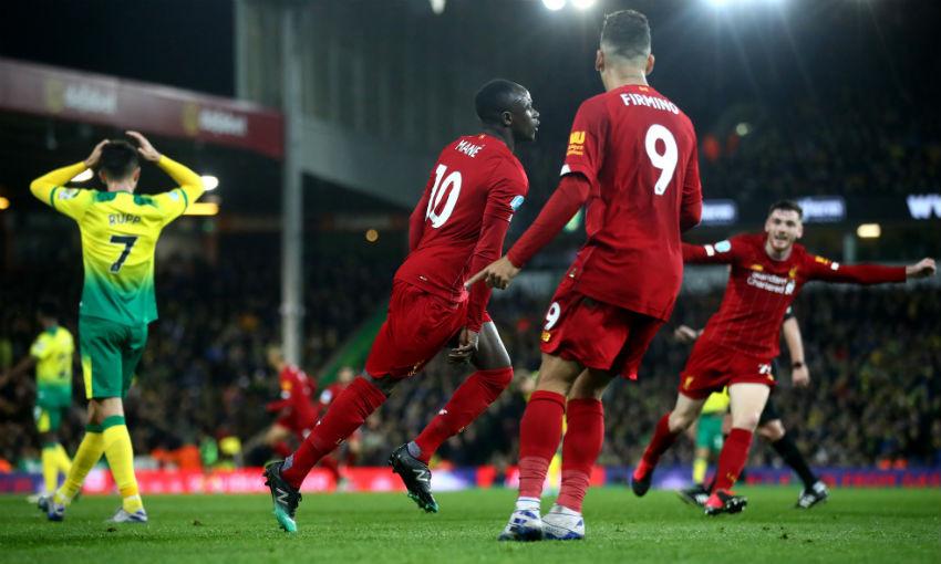 Sadio Mane celebrates goal for Liverpool v Norwich City