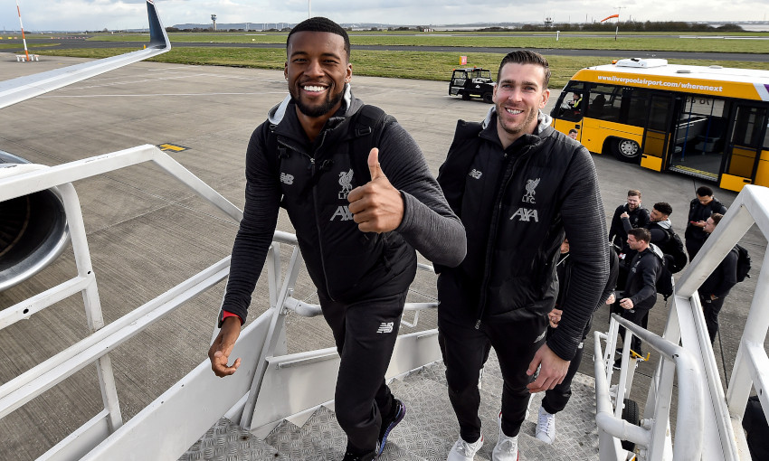 Liverpool depart for Atletico Madrid tie