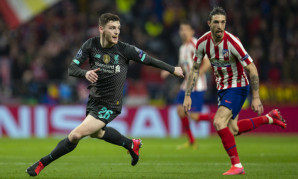 Andy Robertson in action against Atletico Madrid