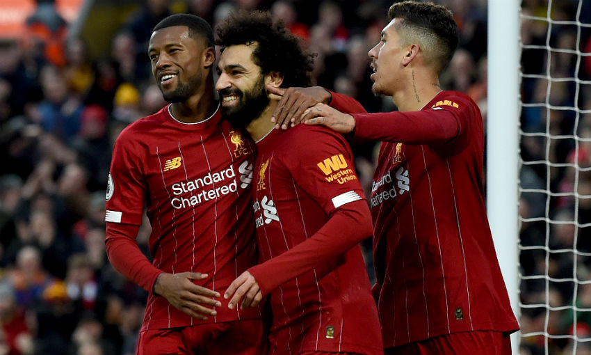 Gini Wijnaldum, Mohamed Salah and Roberto Firmino of Liverpool FC