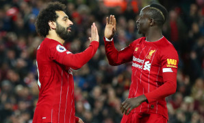 Mohamed Salah and Sadio Mane celebrate