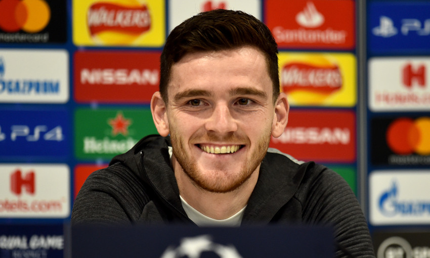 Andy Robertson at a Champions League press conference