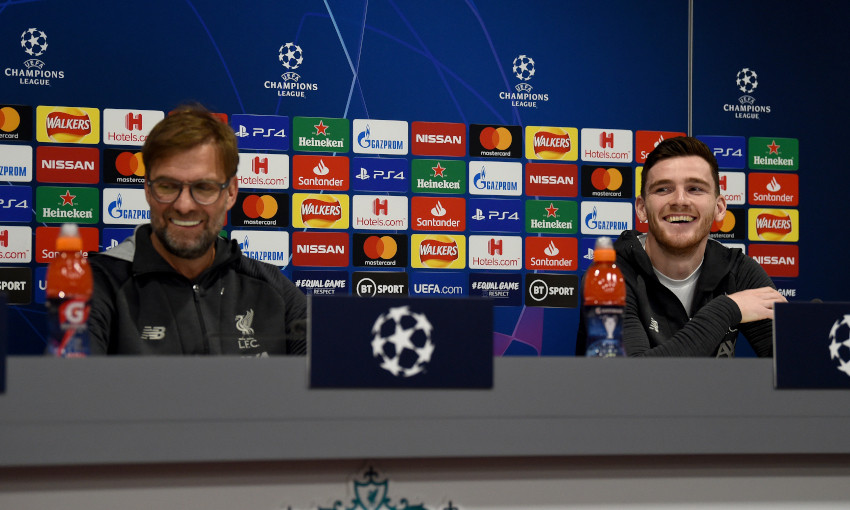Jürgen Klopp and Andy Robertson at a Champions League press conference