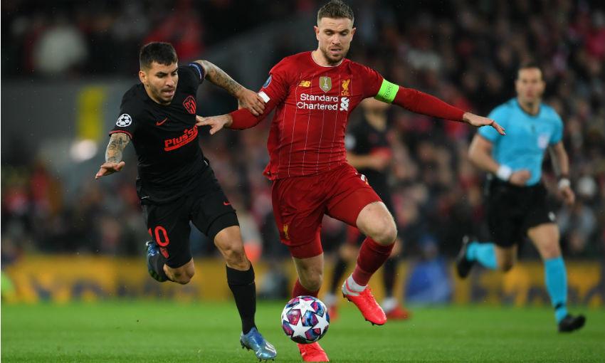 Jordan Henderson during Liverpool v Atletico Madrid