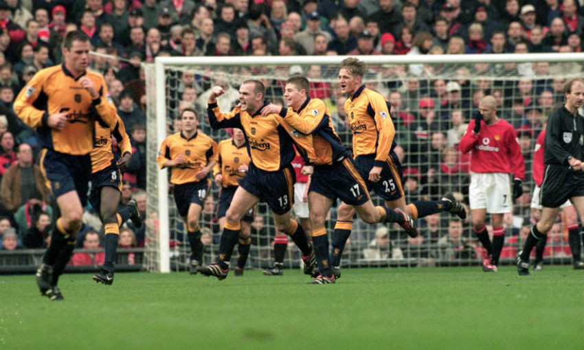 Danny Murphy celebrates goal for Liverpool FC v Manchester United