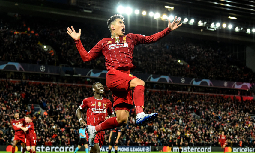 Roberto Firmino celebrates at Anfield