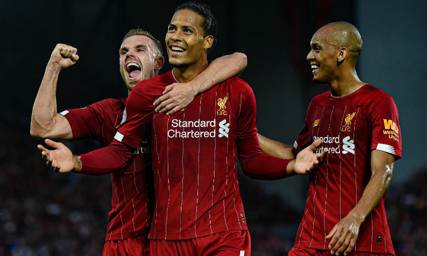 Virgil van Dijk celebrates goal for Liverpool FC v Norwich City
