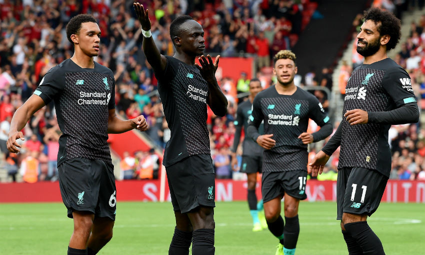 Sadio Mane celebrates goal during Southampton v Liverpool FC
