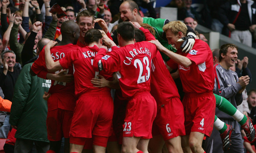 Liverpool FC players celebrate goal v Everton at Anfield, 2006