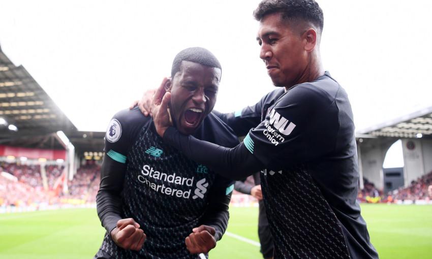 Georginio Wijnaldum celebrates scoring against Sheffield United