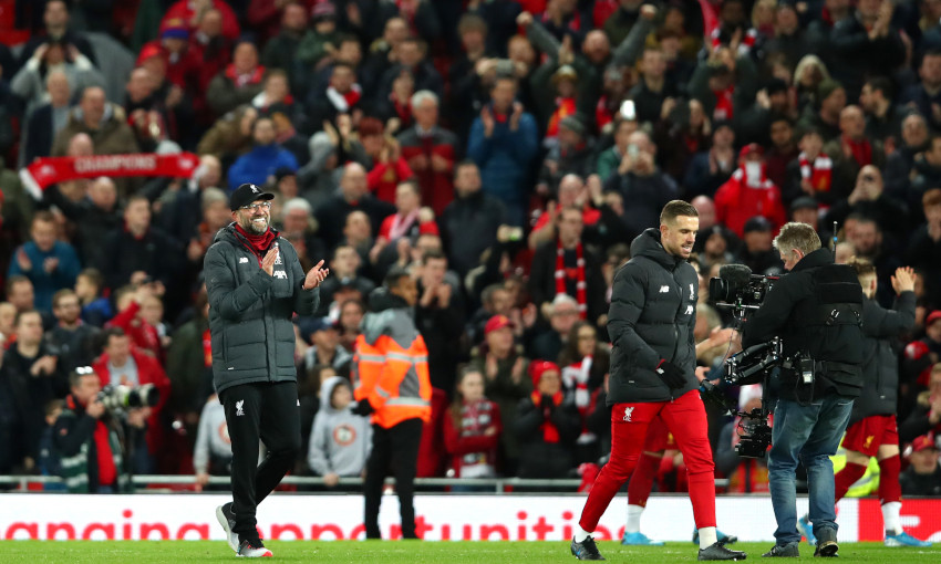 Jürgen Klopp celebrates at Anfield