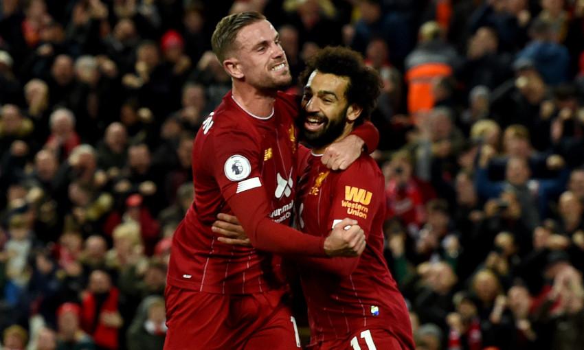 Jordan Henderson and Mohamed Salah celebrate