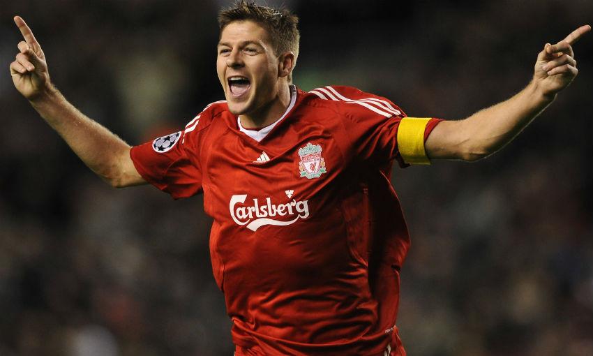 Steven Gerrard celebrates goal for Liverpool FC v PSV