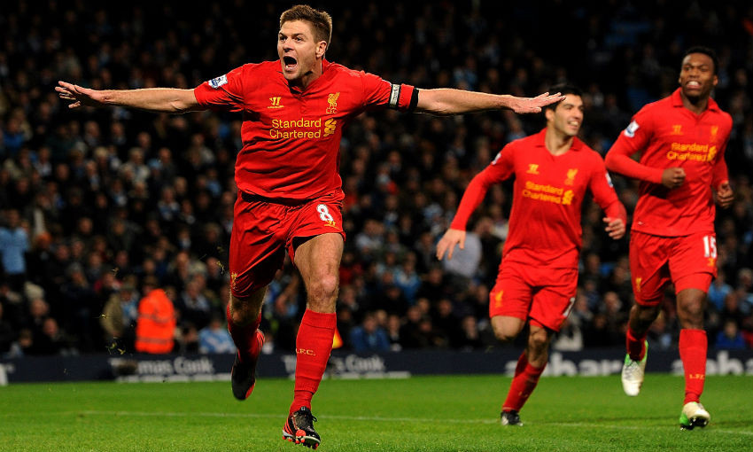 Steven Gerrard celebrates goal for Liverpool FC