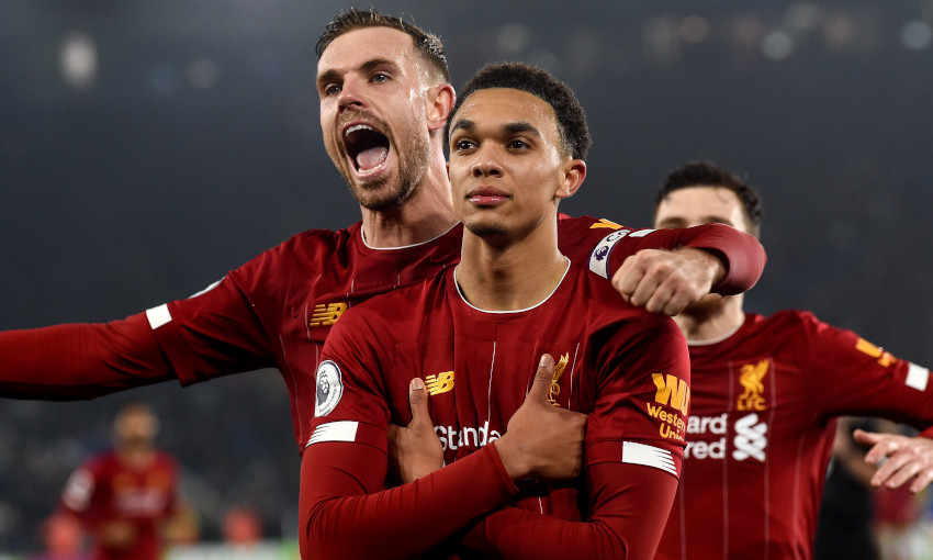 Trent Alexander-Arnold celebrates scoring against Leicester City, December 2019
