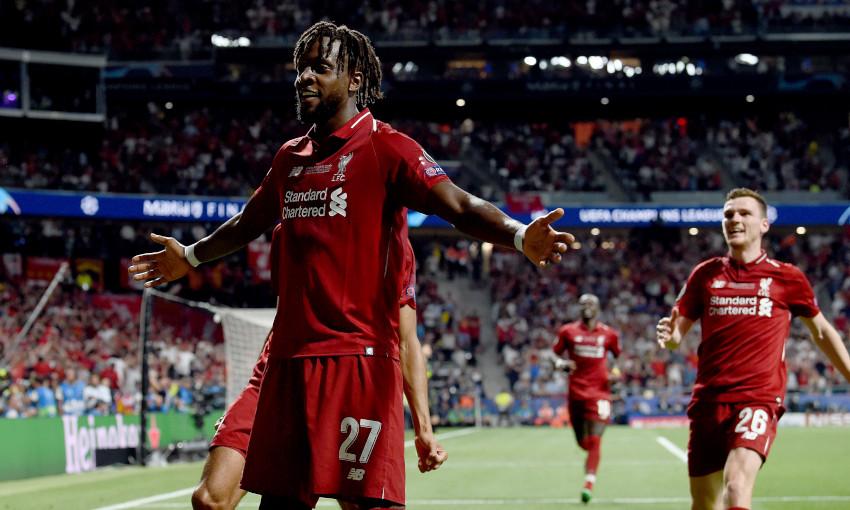 Divock Origi celebrates scoring in the Champions League final