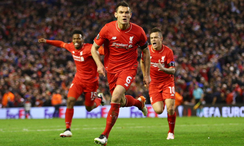 Dejan Lovren celebrates scoring against Borussia Dortmund, April 2016
