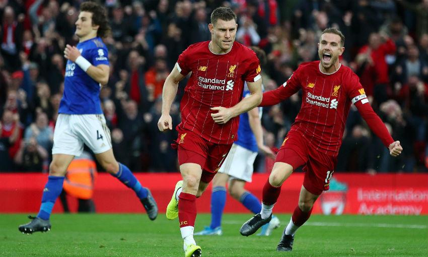 Jordan Henderson and James Milner of Liverpool FC