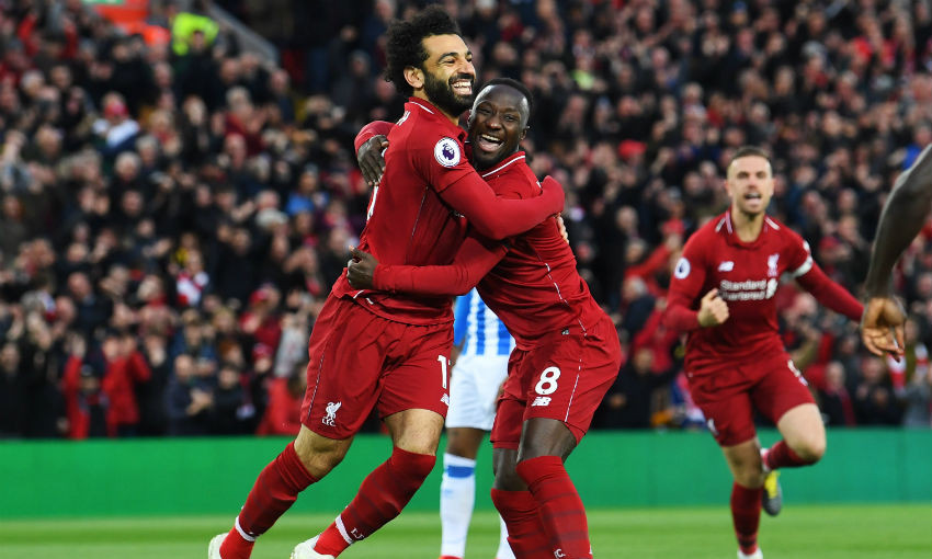 Naby Keita and Mohamed Salah of Liverpool FC
