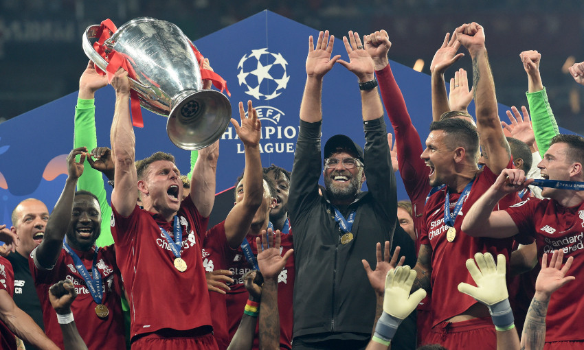 James Milner lifts the Champions League