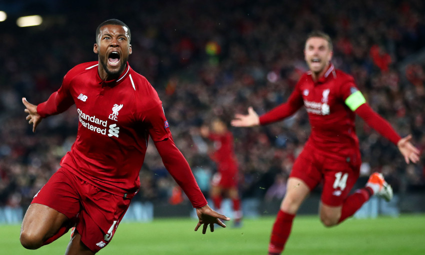 Georginio Wijnaldum celebrates against Barcelona