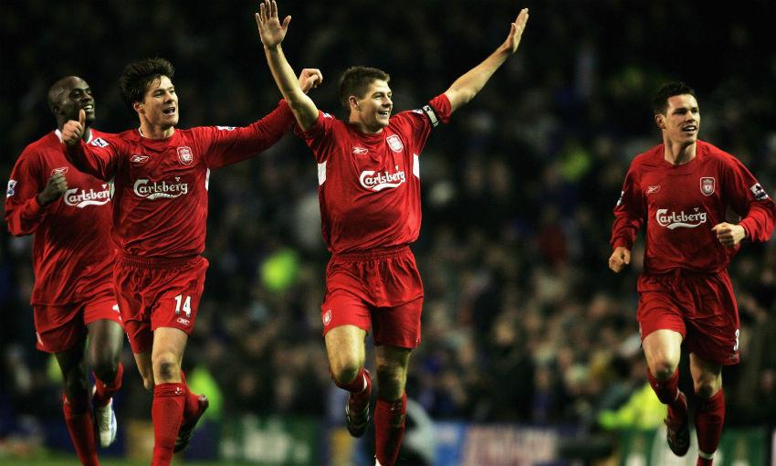 Steven Gerrard celebrates goal for Liverpool v Everton