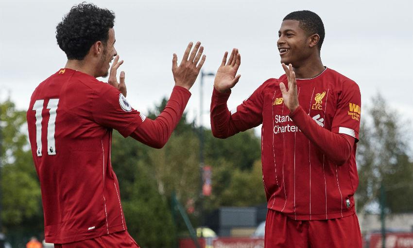 Curtis Jones and Rhian Brewster of Liverpool FC