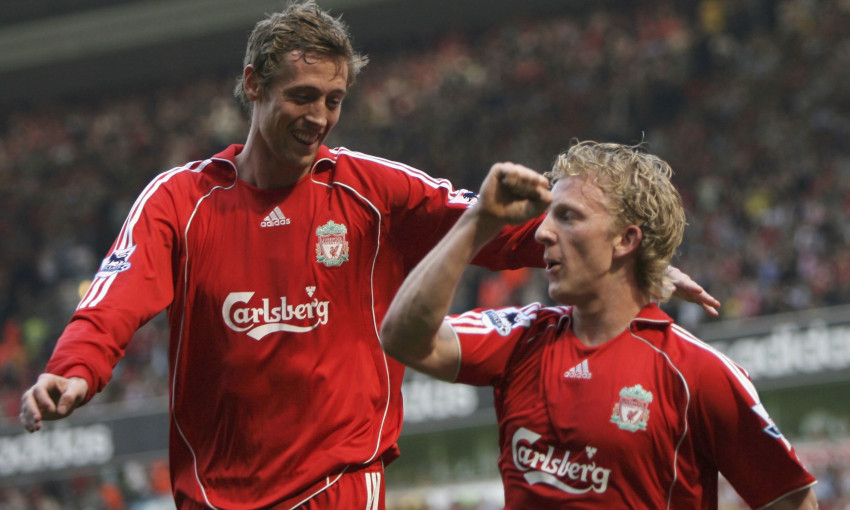 Peter Crouch and Dirk Kuyt celebrate