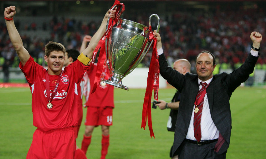Steven Gerrard and Rafael Benitez of Liverpool FC with European Cup trophy, Istanbul 2005