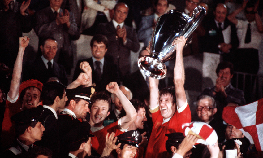 Emlyn Hughes lifts the European Cup in 1977