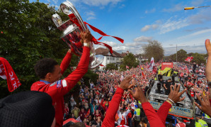 Trent Alexander-Arnold at the 2019 Champions League trophy parade