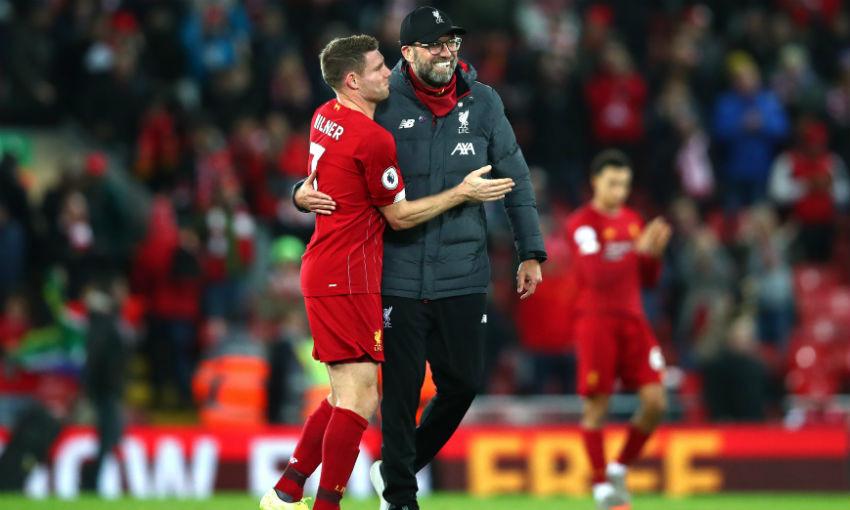 Jürgen Klopp and James Milner of Liverpool FC