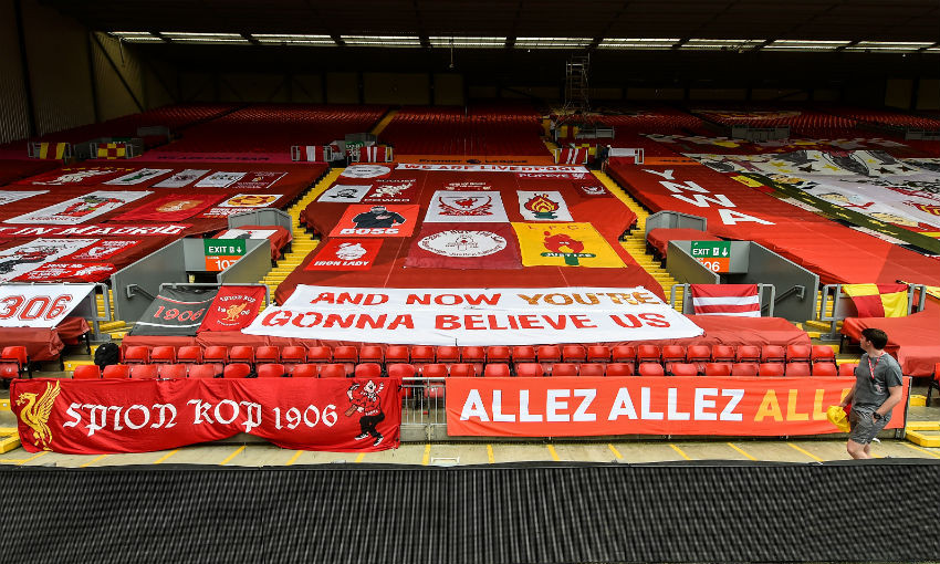 Anfield gets covered in Liverpool FC banners
